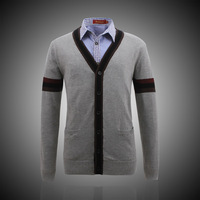 Men's clothing new arrival casual slim 100% basic cotton outerwear 80013 grey cardigan sweater