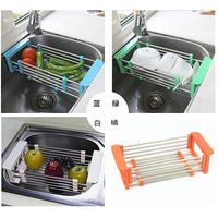 Adjustable Stainless Steel Kitchen Sink Drain Fruit Corner Bracket Storage Shelf  HQS-G103253
