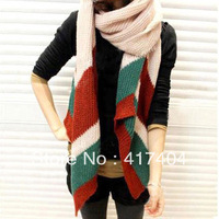 Winter thickening ultra long super warm black yarn knitted scarf lovers muffler scarf