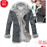 2013 denim winter wadded jacket fashion trend of male cotton overcoat fur collar outerwear thermal medium-long male