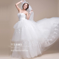 Sweet & Fashionable Layered Strapless Waist Shaping Wedding Dress 2014plus size with crystal Simple A-line Lace Wedding Dress