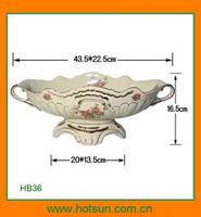 Elegant style porcelain fruit bowl with gold rimHB36