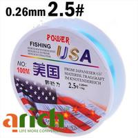 2.5# 100m Long 0.26mm Diameter 11kg Abrasion Resistant Fishing Line Spool Fishing Rope