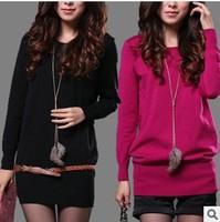 new 2013 big size fashion sweater dress knitted sweaters pullover women fashion long sweater
