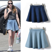 2Color 2013 Fashion Women's A-Line high Waist Denim Skirt  Celebrity Solid Mini Pleated for Ladies Women Free shipping