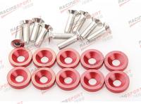10 PC Red BILLET ALUMINUM FENDER/BUMPER WASHER/BOLT ENGINE BAY DRESS UP KIT