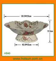 Elegant design footed porcelain rounded fruit tray HB91