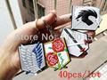 40pcs lot Shingeki no Kyojin Attack on Titan Survey Legion stationed Miritary police training corps logo