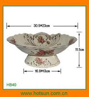 Elegant design footed porcelain rounded fruit plate HB40