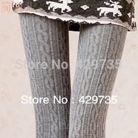 Trend Knitting Women's pantyhose Winter Warm super Slim Cotton Twist printing design thick tights
