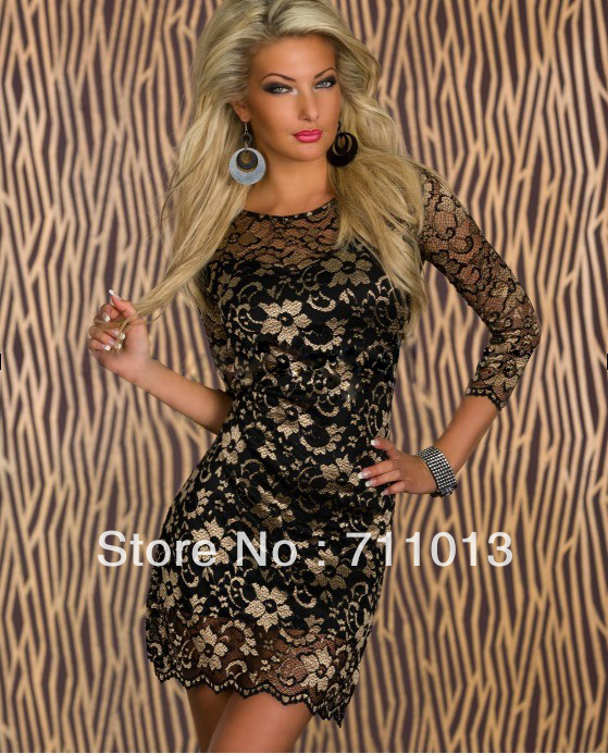 Nicely top grade women lace dress O-neck elegant print dress free size four colors(China (Mainland))