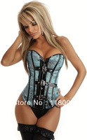 free shipping hot selling pvc boned wholesale sexy purple, blue,green satin overbust corset and bustier top C-980