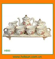 Elegant design porcelain tea or coffee set in a platter HB93