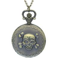 Marvel Super Hero Punisher Skull Case Pocket Watch Ghost Rider Cool Fob Watch Copper Skeleton Skull Quartz Watch , A Small Gift