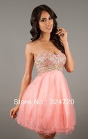 2014 new beaded coral tulle Short strapless sweetheart prom dress damas dress free shipping