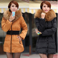 Free shipping Winter Women Fashion luxury large fur collar slim thickening medium-long down coat wadded jacket outerwear L0376