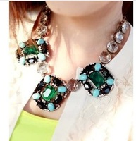 hot wholesale fashion European necklace 01170 luxurious green&clear squares chain