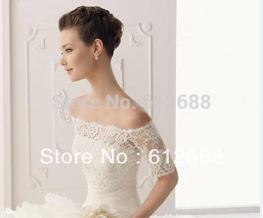 Dernière mode 2014 dentelle hors de l'épaule longueur des manches moitié veste de mariée mariage livraison gratuite personnaliser cape châle