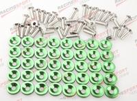 40 PC Green BILLET ALUMINUM FENDER/BUMPER WASHER/BOLT ENGINE BAY DRESS UP KIT