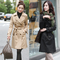Women Plus Size Trench Turn Down Collar Khaki Coats OL Long Trench