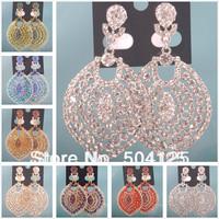 min.mix order is $10-- Crystal rhinestone drop dangle earrings Luxury statement wedding chandelier big round