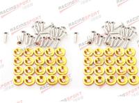 40 PC Golden BILLET ALUMINUM FENDER/BUMPER WASHER/BOLT ENGINE BAY DRESS UP KIT