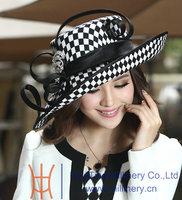 Free Shipping Hot Sale Women Hats for Church Winter Satin Dress Hat Millinery Chapeau Formal Hat for Women Satin Ribbon