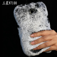Luxuxy real rex rabbit hair fur plush Soft leather shell case for samsung galaxy Note2 bowknot Diamond Cover 1pcs Free Shipping