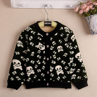 Child cardigan collection children's clothing baby boy sweater velvet liner cashmere with skull