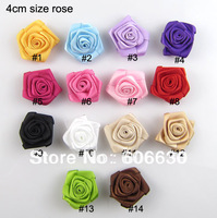 100pcs/lot 14color effective, DIY baby headband accessories, atin silk flower /rosettes hair accessories