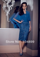 New hot sale fashion style   Lace Dress with attached Chiffon Capelet  / Evening dress /MOTHER of dress