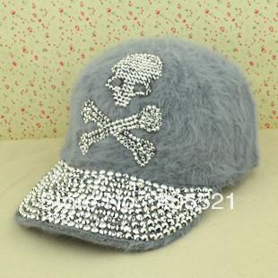 Free Shipping Women Fashion Cony Hair Rivet Skull Baseball Cap Rabbit Hair Rhinestone Skull Shape Hat(China (Mainland))