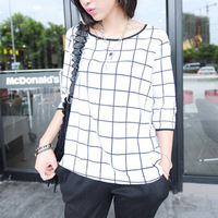 2013 autumn 7 plaid chiffon shirt basic shirt basic tee female 8518-x111-p30