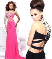 2014 Luxury Fashion Jewel One Shoulder Long Sleeve Beaded Chiffon Straight Custom Made Formal Long Evening Prom Dresses