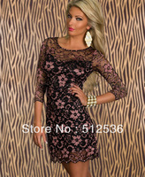 New Fashion Women Sexy Lace Print Dress Casual Bodycon Mini Dress