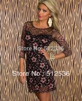 New Fashion Women Sexy Lace Print Dress Casual Bodycon Mini Dress