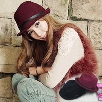 Small woolen fedoras jazz hat strap red fedoras women's winter hat