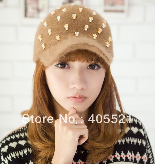 Hot Sale Women's Cap Rabbit Hair Baseball Hat With Skull Shape Pendant Hats Baseball Caps Free Size(China (Mainland))