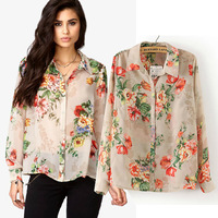 Autumn new arrival 2013 chiffon flower print elegant shirt, casual shirt
