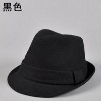 Men winter casual wool felt fedora hats black grey