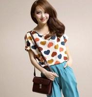 Fashion Beige Korean Women's Chiffon Batwing Short Sleeves Heart Printed T-Shirt Top Loose Blouse Free shipping & Wholesale