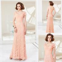 Wholesale Modest  Short Sleeve Applique Lace Beaded Peach Latest Design Floor Length Evening Dresses Mother Dress Al1444
