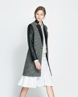 2013 fall and winter clothes European and American style gem it was thin wool coat zipper windbreaker jacket women