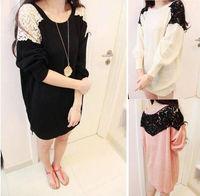 Stylish Womens Lace Stitching Shoulder Batwing Round Neck Knitwear Sweaters Tops