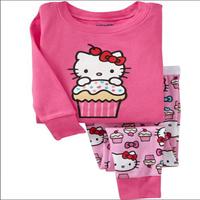 Retail 2014 new 100% cotton Hello kitty baby pajamas of the children pyjamas baby girl clothing 2 pcs set, free shipping