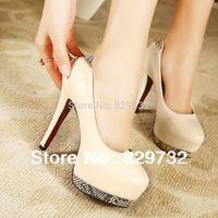 Free shipping 2014 new arrival women pumps high-heeled shoes platform thin heels ultra high heels single shoes