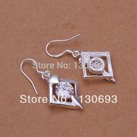 Hot Sell 925 Silver Earrings For Woman Fashion Jewelry gem-set rhombus shape earrings ks jewelry 3.7X1.8CM Free Shipping