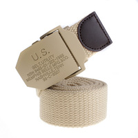 Us khaki canvas waist of trousers belt strap male genuine leather all-match Women lengthen thickening  belt for man
