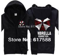 Free Resident Evil Biohazard Cosplay Costume / Umbrella Corporation Symbol Hoody, Sweatershit, Coat, Plus Size 3XL,Good Quality