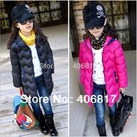 Big Promotion 2014 NEW Brand Children Girl Coat Hooded Wave Pattern Girl Warm Down Coat  hot sale